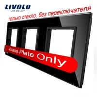 Free Shipping Livolo Luxury Black Pearl Crystal Glass 80mm 80mm EU Standard Triple Glass Panel For