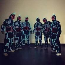 El костюм LED Костюмы светящиеся костюмы с подсветкой, светящиеся с капюшоном Для мужчин El одежда холодной полосе танец моды талант show LED свет