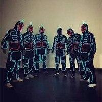 EL kostium Kostiumy Podświetlane Luminous LED Garnitury Zakapturzonych Mężczyzn EL Świecące Ubrania Na Zimno Taśmy Mody Tańca Talent Pokaż LED Światła