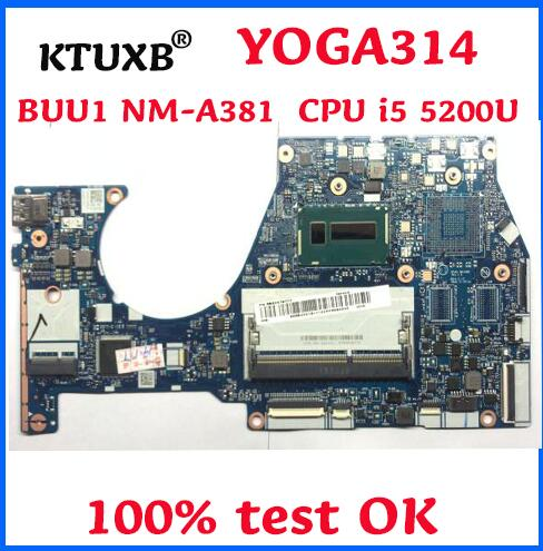 KTUXB BUU1 NM A381 motherboard for Lenovo YOGA 3 14 YOGA3 14 notebook motherboard CPU i5