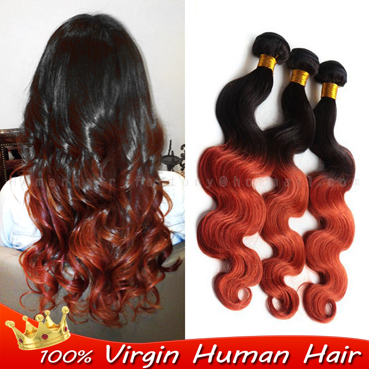 100g Human Real Hair Extensions Weaves Two Tone Ombre Color 1b350