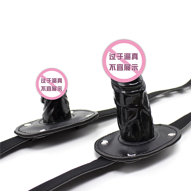 Adult Game Silicone Dildo Gag Oral Sex Penis Mouth Plug Penis Gag With Locking Buckles Leather Bondage Female Sex Products O35