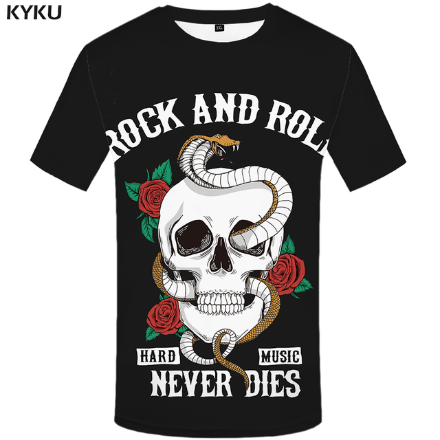 265c2b49926 KYKU Punk Rock T Shirt Men Gothic T-shirt Snake Shirt Skull T-shirts Animal  Black Tshirt Funny Rose Flower Mens Clothes Hip Hop