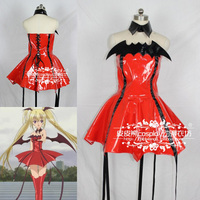 New Arrival Anime Shugo Chara Cosplay Devil Costume Tsukiyomi Utau Cosplay Red Patent Leather Dress with Bustle for Lolita Girls