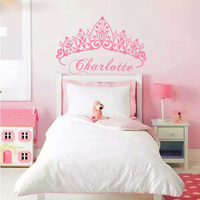 T07033 Eco Friendly Baby Girl Crown Wall Sticker Custom Name Decals Wall Sticker Kids Room Girls