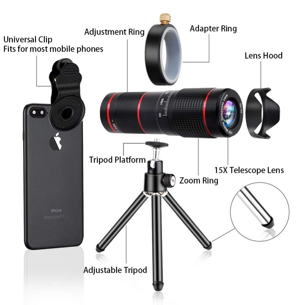 15X iPhone Camera Telephoto Lens kit Double Regulation Lens Attachment with Tripod and Universal Clip Compatible with iPhone samsung 1