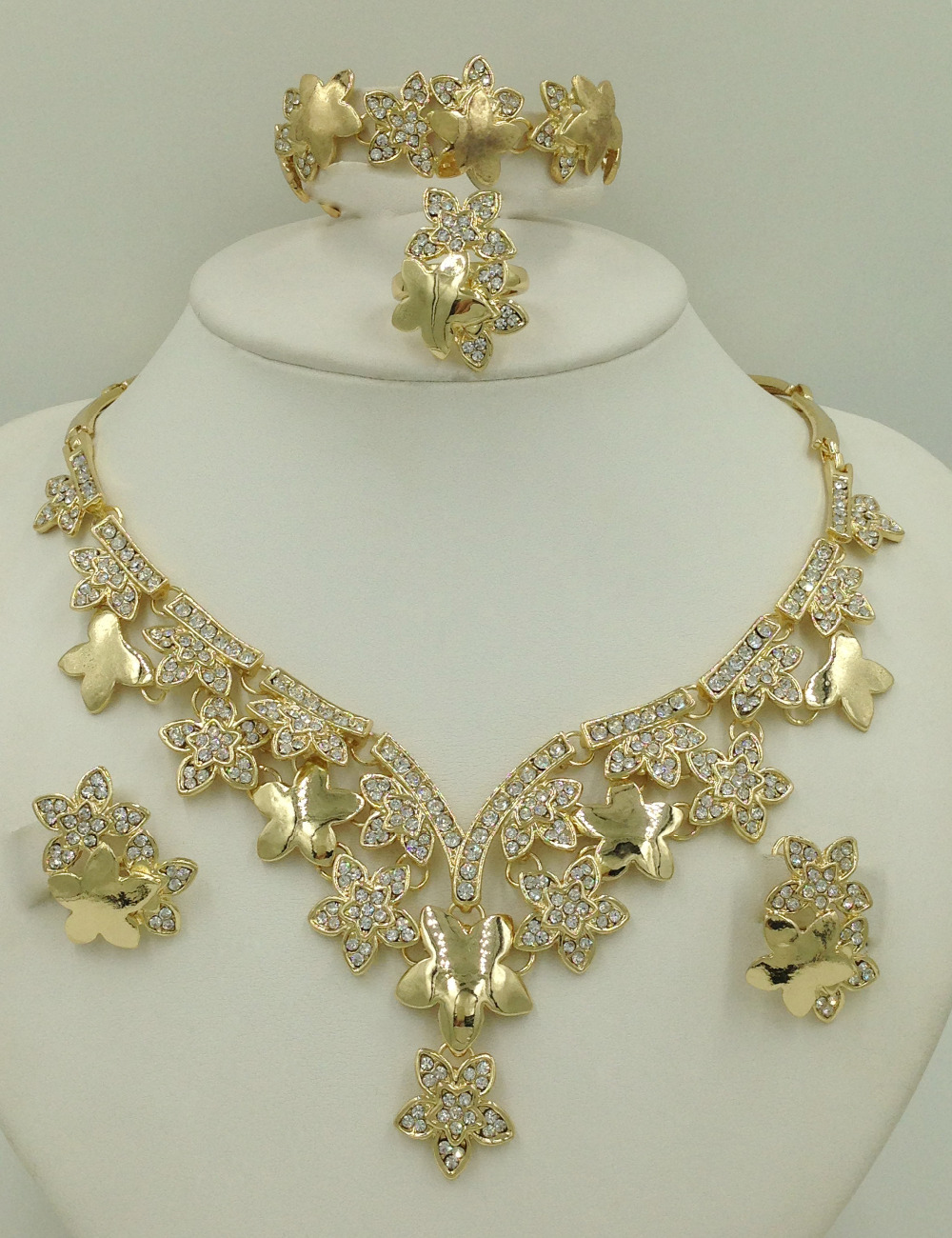 2016 latest haute couture luxury jewelry sets dubai gold plated jewelry sets fashion 18k costume jewelry shiny crystal beads