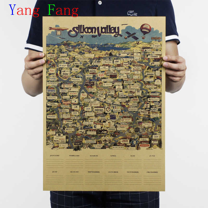 51x36cm Paper Posters Retro Vintage Paper Posters Silicon Valley Map Of The World Famous IT Enterprise Directory Wall Sticker