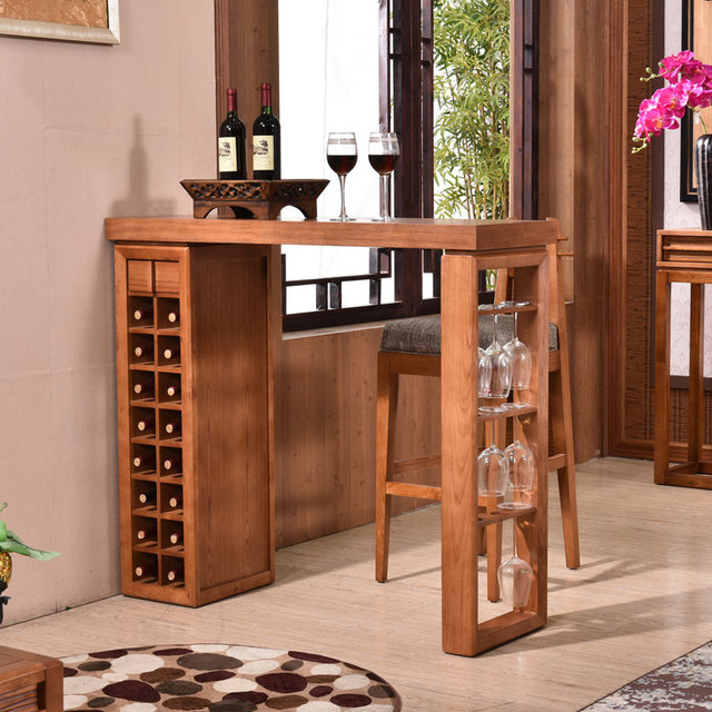 Chinese living room wine cabinet solid wood bar tables and chairs ...