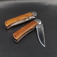Cuchillo de bolsillo plegable táctico de supervivencia, cuchillo de caza para acampar, cuchillos de combate al aire libre, mango de madera, multiherramientas de defensa EDC