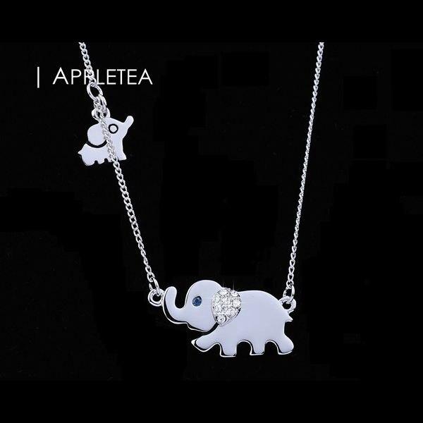 Appletea pretty 18k white gold plated sleek elephant mom and baby appletea pretty 18k white gold plated sleek elephant mom and baby charm pendant necklace mother aloadofball Choice Image