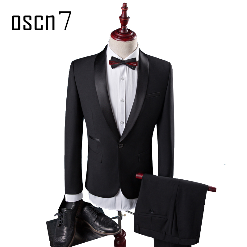 OSCN7 2 Pcs Black Solid Suit Men Slim Classic Party Fashion Shawl Lapel Wedding Suits for Men Stage Terno Masculino Tuxedo S 5XL