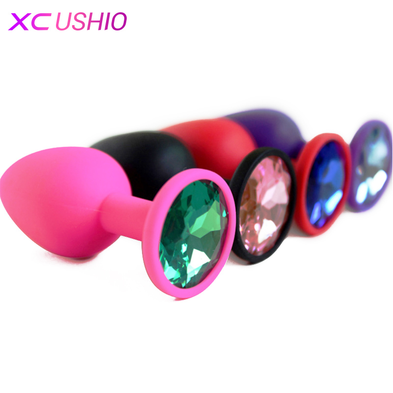 Small Medium Large Silicone Butt Plug with Crystal Jewelry Smooth Touch Anal Plug No Vibration Anal Sex Toys for Woman Men Gay