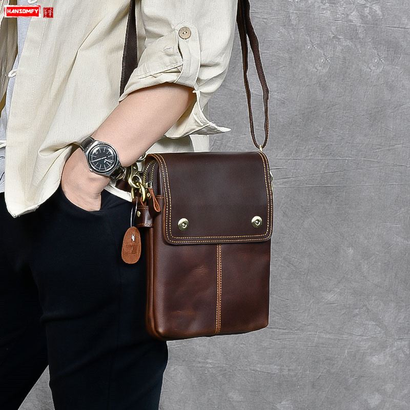 New Men's Small Crossbody Bags Retro Male Messenger Shoulder Bags Vertical Business Men Brown Leather Bag Real Genuine Leather