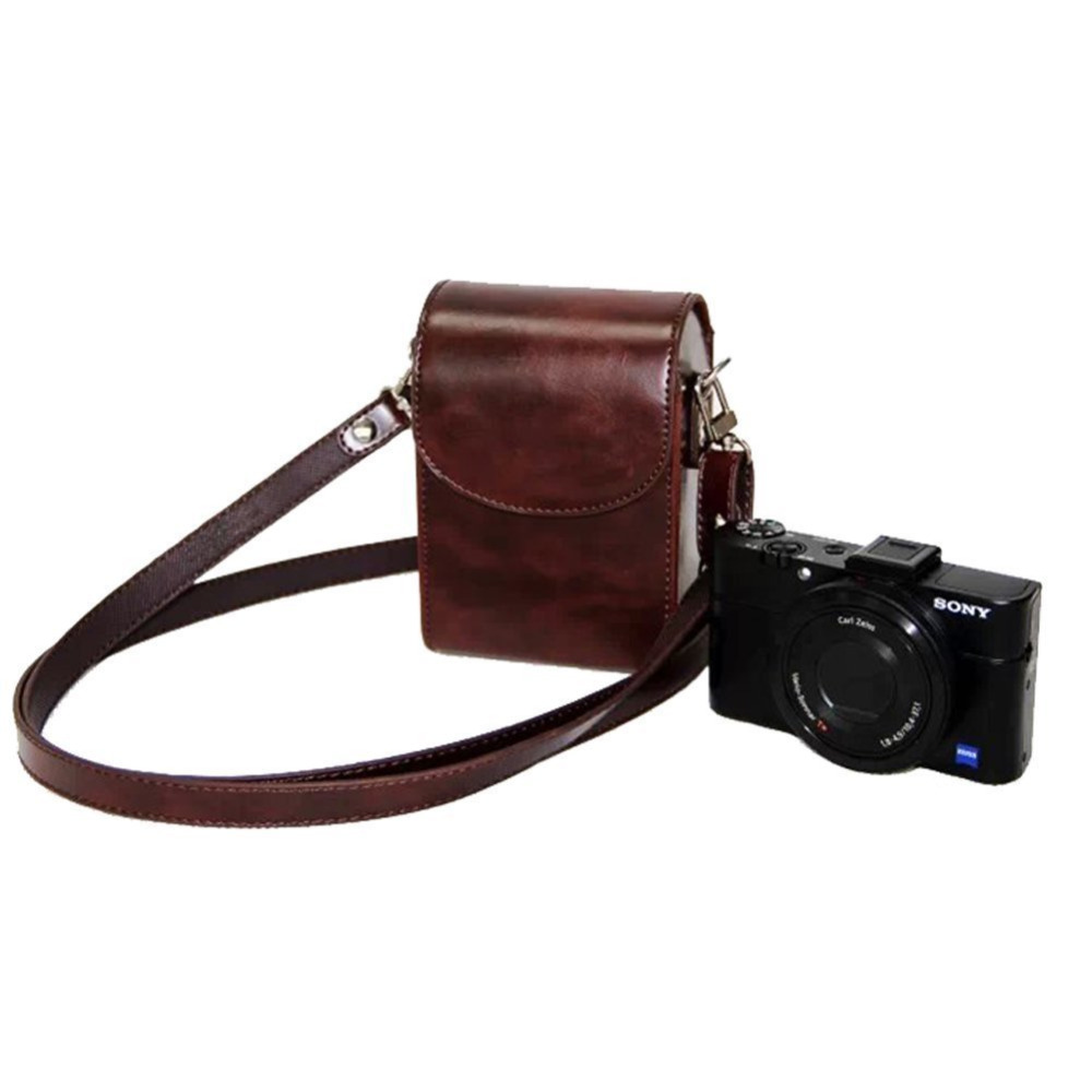 Bundle : Coffee Pinyu Anti-Scratch PU Leather Camera Bag Protective Cover Carrying Handbag Case with Shoulder Strap for Canon EOS RP Camera Accessorie