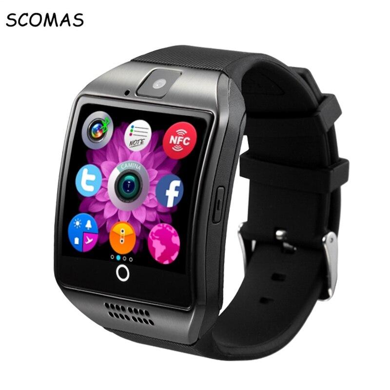 imágenes para SCOMAS Q18 Inteligente relojes teléfono llame recuérdele reloj Inteligente con cámara TF tarjeta Bluetooth smartwatch para Android teléfono de Pantalla Táctil