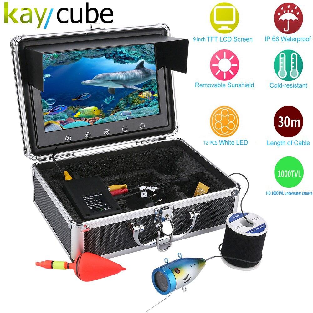 Kaycube 9 Inch Color Monitor 30M 1000tvl Underwater Fishing Video Camera Kit 12 PCS LED Lights Underwater Exploration Snorkelin