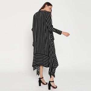 Image 5 - CHICEVER Striped Casual Dress Women Long Sleeve Midi Dresses Female Lace up Bandage Asymmetrical Clothing Korean Autumn 2020 New
