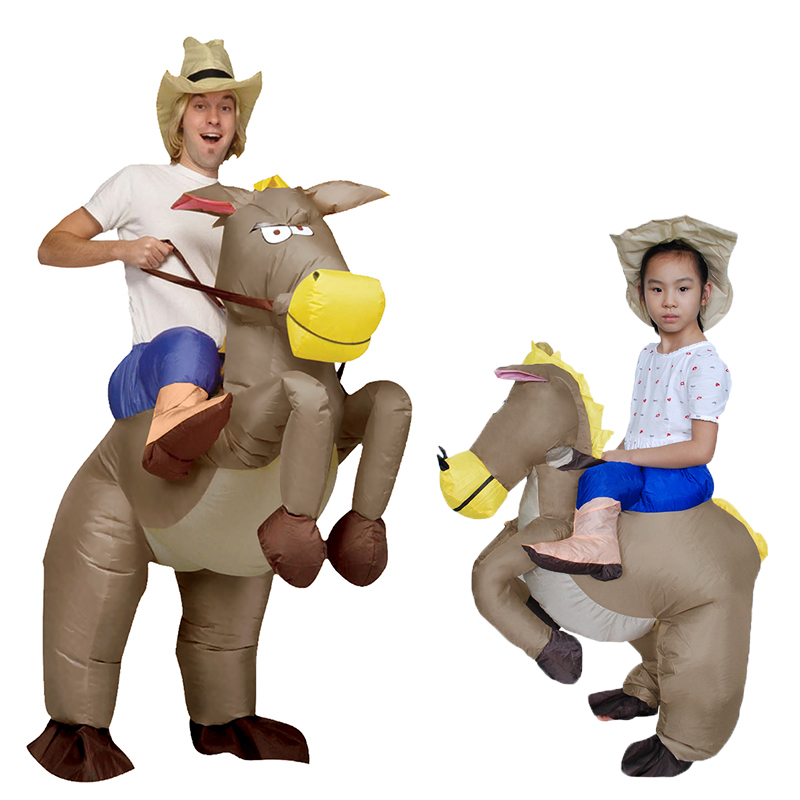 Inflatable Horse Cowboy Cosplay Costumes for Women Blowup Halloween Anime Inflatable Costume Mascot Party Costume for Children