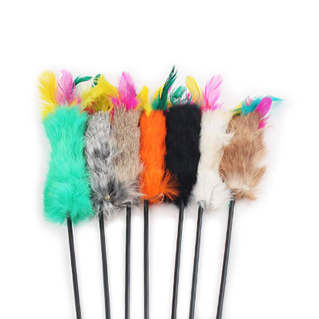 Feather Wand Stick For Cat Catcher Teaser Toy For Pet Kitten Jumping Train Aid Fun 55cm Length send randomly