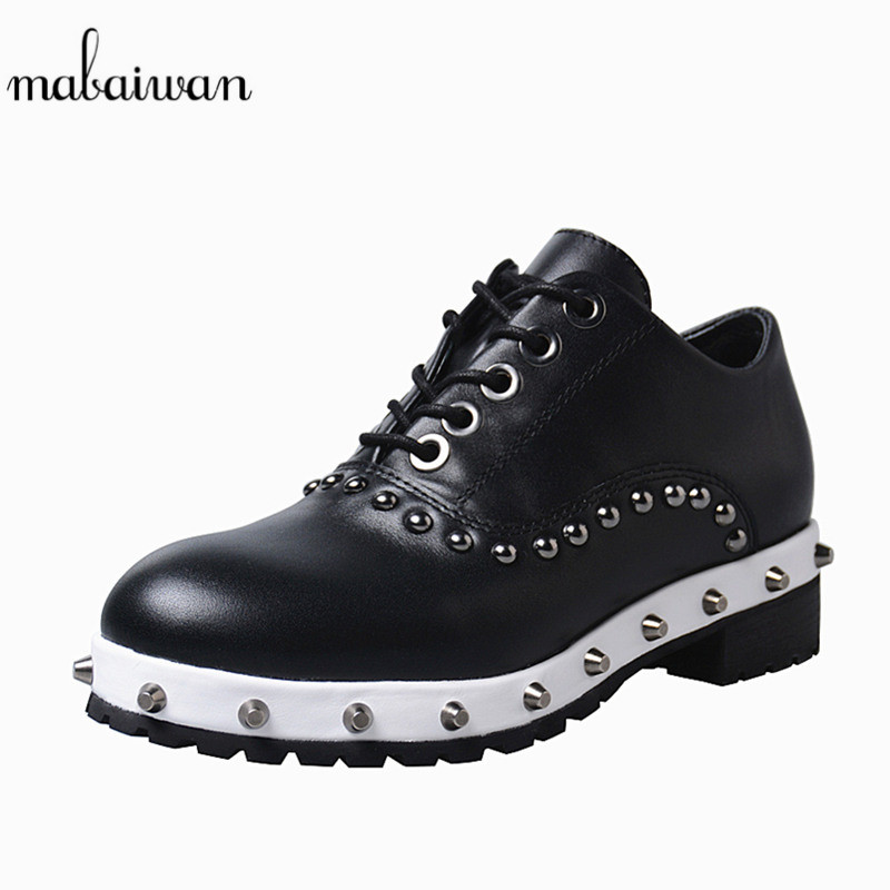 Mabaiwan Casual Women Rivets Sneakers Genuine Leather Platform Lace Up Shoes Women Female Round Toe Creepers Flats Espadrilles smile circle 2018 new genuine leather sneakers women lace up flats shoes women casual shoes round toe flats platform shoes c6004