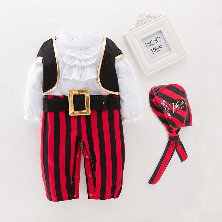 Pirate Captain Cosplay Costume Baby Romper Boys Bodysuits Christmas Fancy Clothes Halloween Costumes Kids Children Jumpsuits