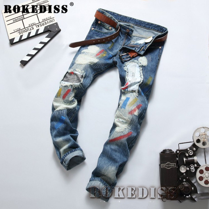 Distressed jeans 2017 Spring and Autumn New fashion printing patch paint Straight pants personality holetrousers men C168