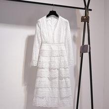 2020 elegante babados com decote em v manga longa laço branco longo vestido de festa das mulheres de alta qualidade férias boêmio praia vestido S-XXL