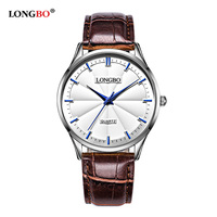 Women Men New Hot Sale Product 2017 Longbo Brand Watches Gold Face Brown Leather Strap Quartz