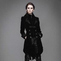 Дьявол Мода готический Винтаж длинные Махаон пальто для Для женщин стимпанк черный, красный осень зима бархат Куртки пальто
