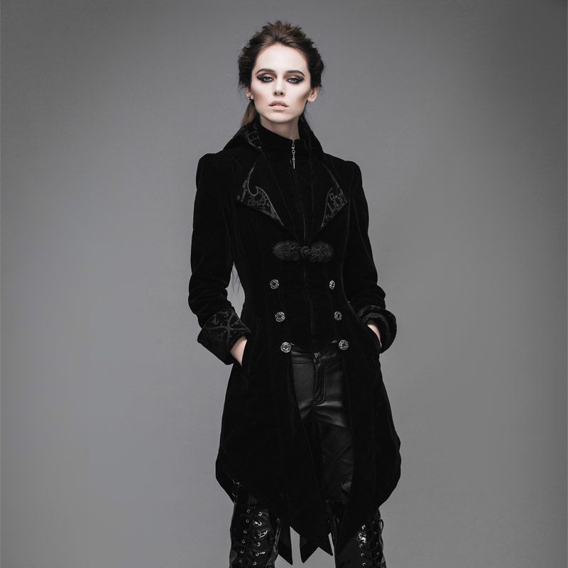 Devil Fashion Gothic Vintage Long Swallowtail Coat for Women Steampunk Black Red Autumn Winter Velvet Jackets Overcoats