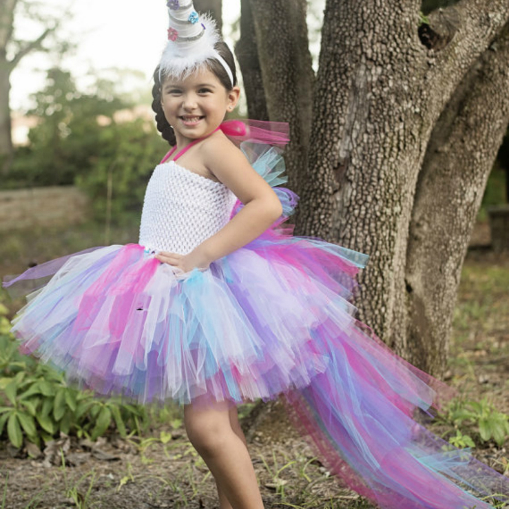 Unicorn Bustle Tutu Dress Girls Birthday Photo Prop Dress