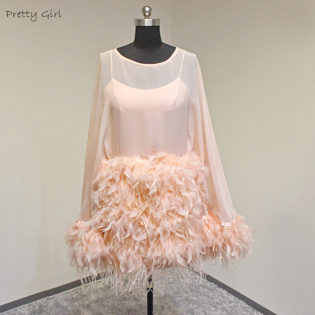Real Made Pink Two Pieces Short Puffy Feather Chiffon Cocktail Dress