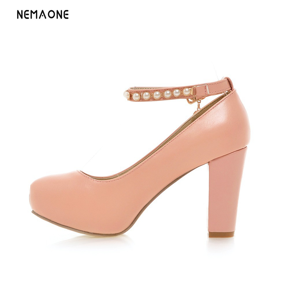 все цены на NEMAONE New women shoes high heels women pumps ankle strap platform shoes woman large size 34-43