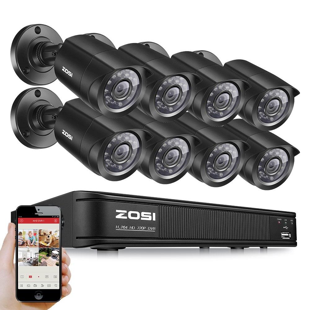 ZOSI HD 8CH CCTV System HDMI 1080N DVR 8PCS 1280TVL IR Outdoor Video Surveillance Security Camera System 8 channel DVR Kit