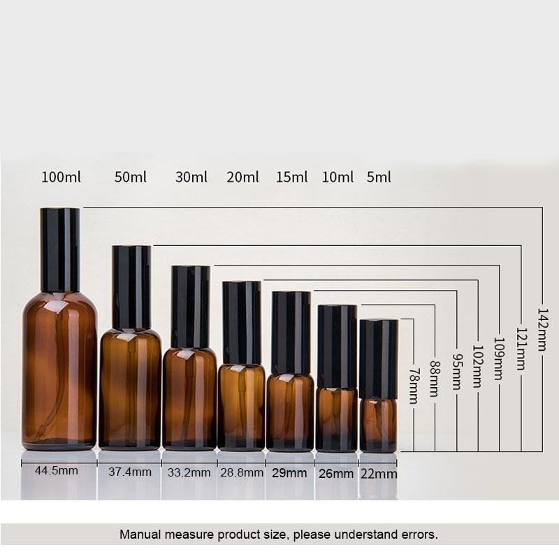 10 100 ml 1 ctn oro argento nero a spruzzo emulsione testa tan flaconi contagocce di Vetro Bottiglie di Olio Essenziale di Cosmetici Contenitore di viaggio - 3