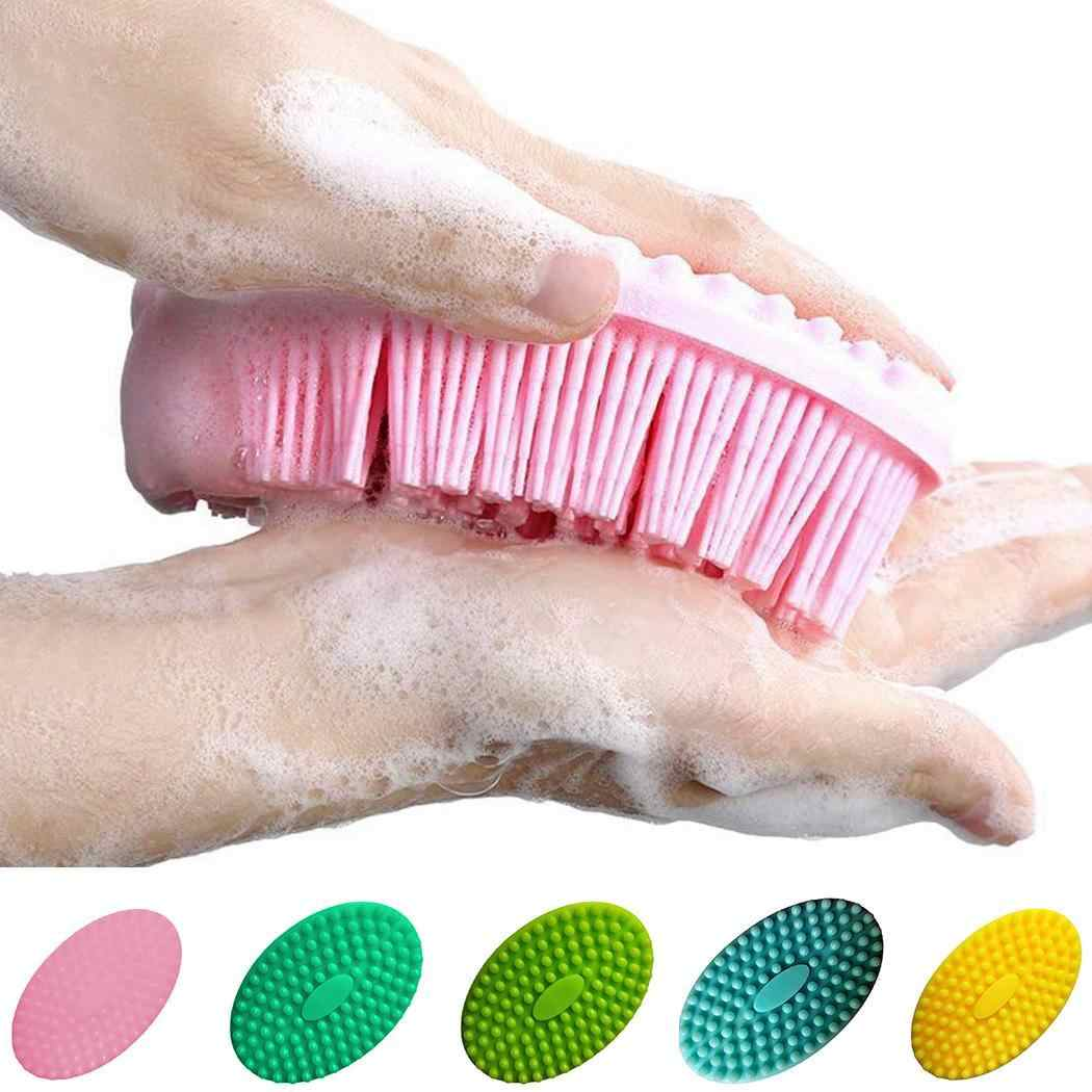 Silicone Soft Double Side Bathing Cleaning Brush Shower Yellow, Pink, Dark Green, Green, Blue Massage
