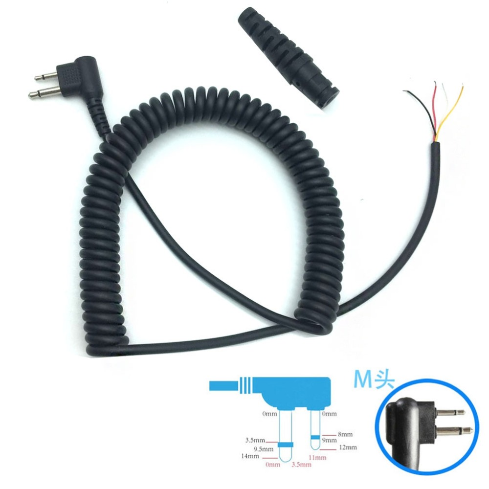 2PCS DIY 4 Wire MIC Microphone Cable M Plug 2pins For Motorola Ep450 Cp040 Cp140 Gp300 Gp3188 Gp88 Hytera Etc Wakie Talkie