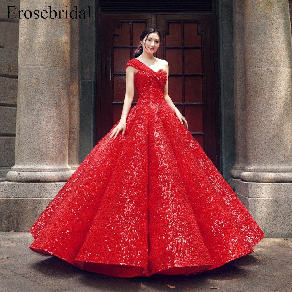 Sparkling Red One Shoulder Evening Dress Sequins Princess Party ...