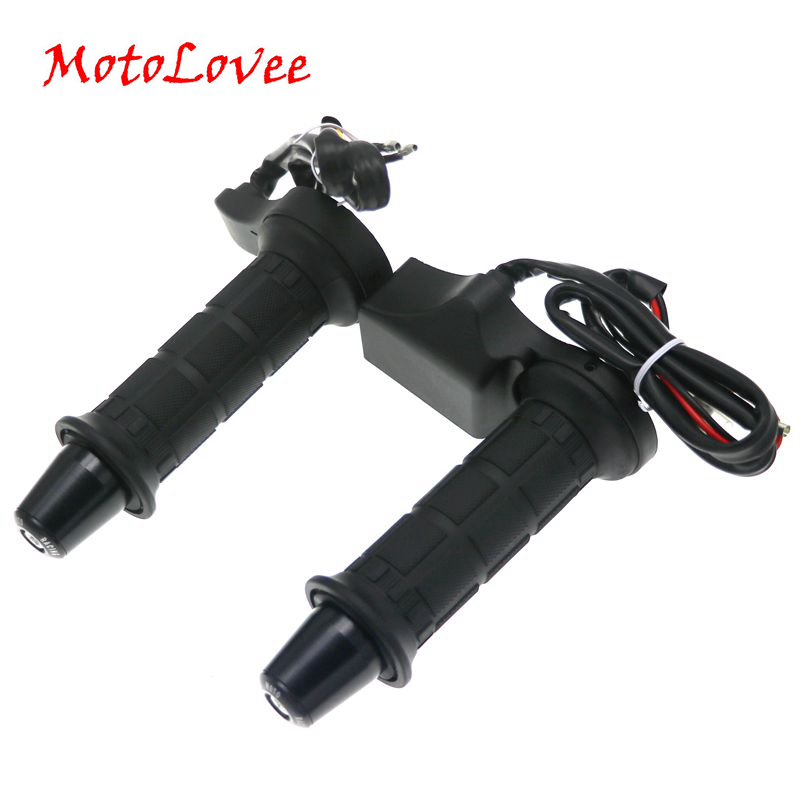 MotoLovee 1Pair 12V 22mm Motorcycle Handlebar Motorbike Heating Handle Universal Adjustable Temperature Electric Heated Grips