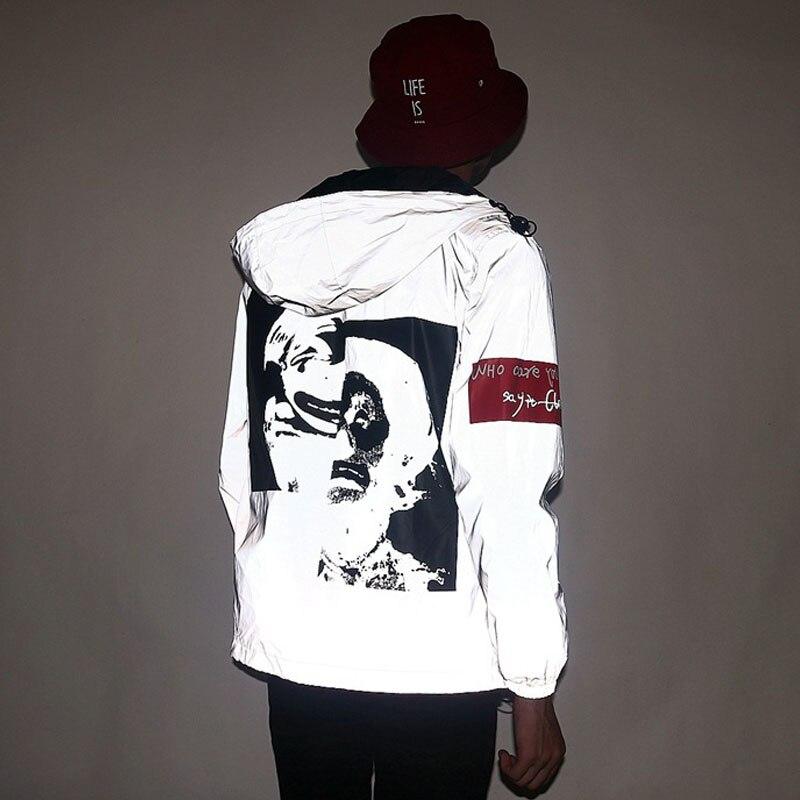 Светоотражающая куртка 3 м, брендовая мужская и женская Повседневная ветровка в стиле хип-хоп, ночная куртка с капюшоном, флуоресцентная оде...