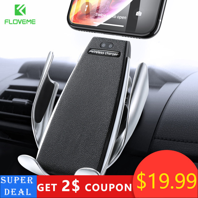 Floveme Infrared Touch Car Phone Holder Wireless Charging For iPhone Samsung 360 Navigation Car Mount holder Car Stand Support