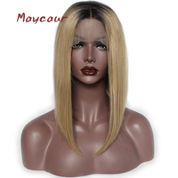 Ombre Blonde Short Straight Synthetic Lace Front Wigs Heat Resistant Short Bob Wigs For Women 180 Density