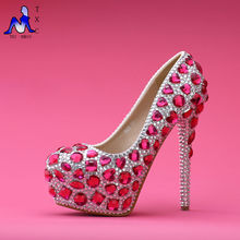 European and American women's luxury pearl crystal diamond wedding shoes / waterproof bridal shoes and high-heeled dress shoes
