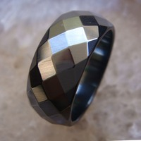 1PC Hot Fashion Wide Faceted Cut Surface Hematite Finger Rings US Size 8 8 5 9