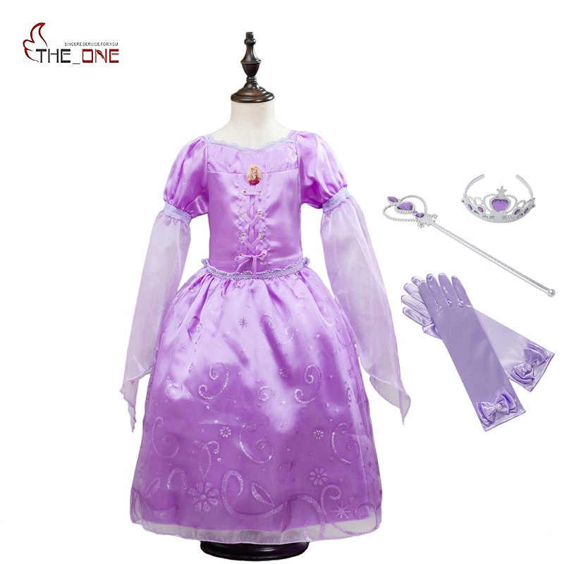 MUABABY Girls Rapunzel Dresses Kids Princess Cosplay Costume Children Halloween Birthday Party Fantasy Girl Ball Gown Dresses muababy girls snow white costume kids summer princess ball gown children short sleeve party dresses girl cospaly birthday gift