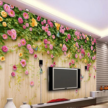 Custom 3d mural pink rose flower wooden board TV background wall decoration painting wallpaper mural photo wallpaper все цены