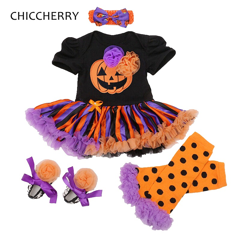Pumpkin Baby Halloween Costume Lace Romper Dress Headband Leg Warmers Shoes Newborn Tutu Sets Roupa Infantil Baby Girl Clothes