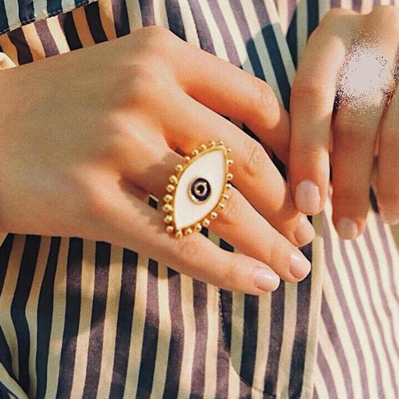 2019 Новая мода Регулируемый золотой цвет капает масло сглаза палец кольца для женщин Дамская Винтаж Midi ювелирные фаланговые кольца