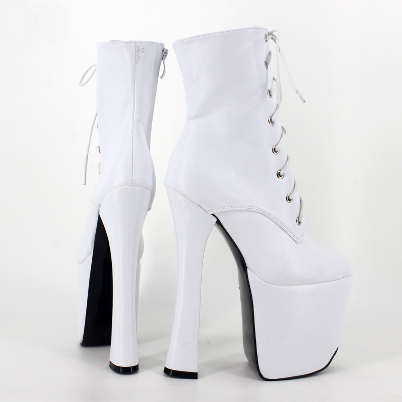Mid-Calf High Women Boots Square High Heels Round Toe Lace-Up New Arrival 2017 Bottine Plateforme Bottes Femmes 2016 Hiver